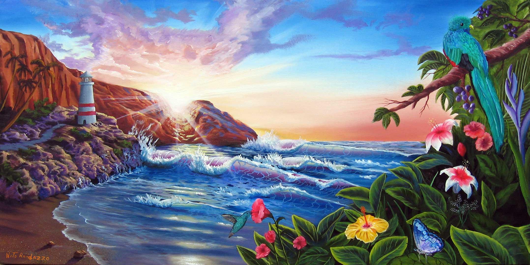 Paintings for sale landscapes murals italian painter for Paesaggi marini dipinti